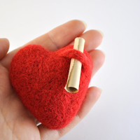 Needle Felted Heart - Valentine's Day, Christmas Toy, Wool love romantic gift home decor