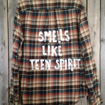Plaid flannel Smells Like Teen Spirit painted  shirt // soft grunge XL