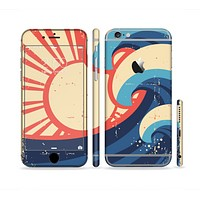 The Retro Vintage Blue vector Waves V3 Sectioned Skin Series for the Apple iPhone6s Plus