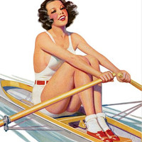 Pin Up Girl Brunette Rowing A Row Boat Poster