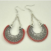 Carved Rope Wrap Drop Earrings Vintage color Power boho punk big circle Earrings for Women jewelry