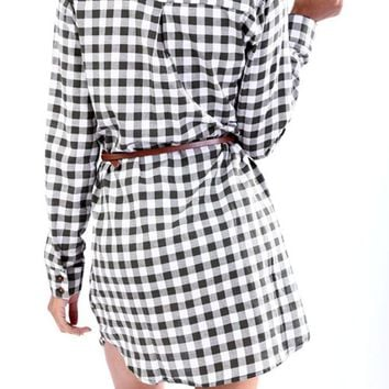 Casual Plaids Button Down Shirt Blouse Mini Dress with Belt