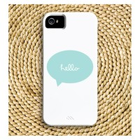 Pick Your Color & Phone Model - Cursive Hello Talk Bubble Barely-There Snap-On Hard Plastic iPhone / Samsung Case - Made To
