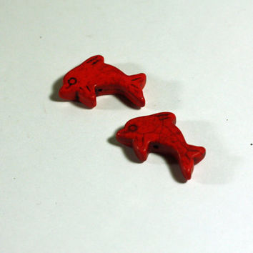 2 Red Dolphin Beads: Howlite Peace Sign Beads / 25mm / jewelry making / jewelry supply