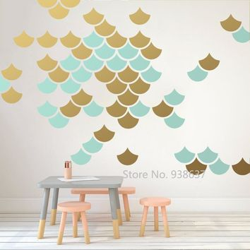 Mermaid Scale Wall Stickers Home Decor Living Room Geometric Decals Nursery Vinyl Modern Wall Decal Unique Decorate Mural JW303
