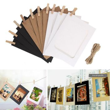 3/5/6 inch DIY Combination 10Pcs Wall Photo Frame with 10pcs Clips and Rope DIY Hanging Wall Picture Album Kraft Home Decoration