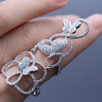 JINYAO Fashion Knuckle Filigree Flower Butterfly Zircon Stones White Gold Color Finger Ring Long Design Lady Jewelry