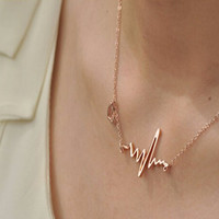 New Arrival 2015 Fashion Women Cute Heart Beat Pendant Necklace  - Ladies