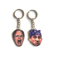 Dwight Schrute & Michael Scott Inspired Keychains