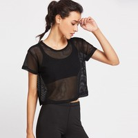 Women Fashion Black Mesh Cover Up Meshed slim Top Dancing Fitness Shirt Tops Cropped