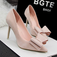 2017 New Summer Women Pumps Sweet Bowknot Shoes Thin Pink High Heel Shoes Hollow Pointed Toe Stiletto Elegant SMYDS-B0054