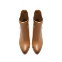 LEATHER ANKLE BOOT WITH BLOCK HEEL - Shoes - Woman   ZARA United States