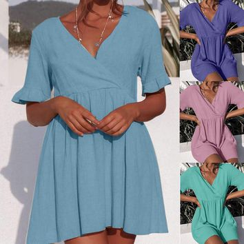 feitong summer sexy Dress Fashion Women V-Neck Plain Short Sleeve plus size solid oversize Skater Dresses party Vestidos