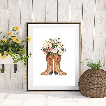 Floral Cowgirl Boots, Boho Art
