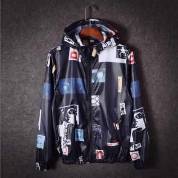 Spring and autumn students couple hooded coat ultra - thin models of raincoats sunscreen shirt jacket skin clothes Class service men and women Black