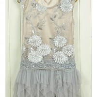 Whimsical Fairy Dress. Sequins Embellished Light Grey Layer Dress