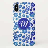 Blue China Hand Drawn Floral Pattern & Monogram iPhone X Case