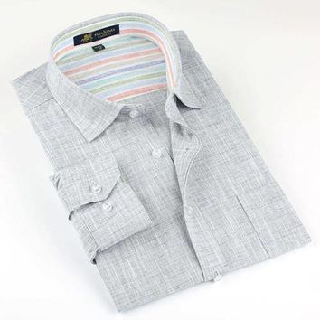 New Men's Casual Long Sleeve Slim Fit Linen Look Button Down Shirt