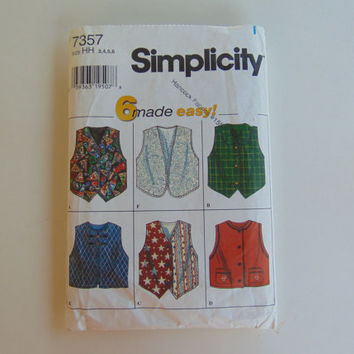 Simplicity 7357 Child and Girls Vests Size 3,4,5,6 Craft Clothes Sewing Pattern