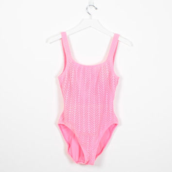 Vintage Neon Pink 90s Bathing Suit Crochet Netting Mesh Low Back Backless High Cut One Piece Swimsuit Hot Pink 1990s Beach M Medium L Large