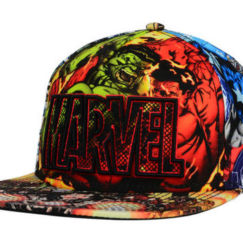 Bio Domes Marvel All Over Character Wordmark Snapback Hat