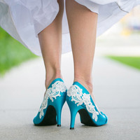 Blue Wedding Shoes - Blue Bridal Heel with Ivory Lace. US Size 7.5