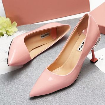 Miumiu Women Diamonds Fashion Heels Shoes