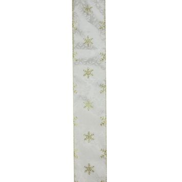 """Twinkling Gold Snowflake Printed White Wired Christmas Craft Ribbon 2.5"""" x 10 Yards"""