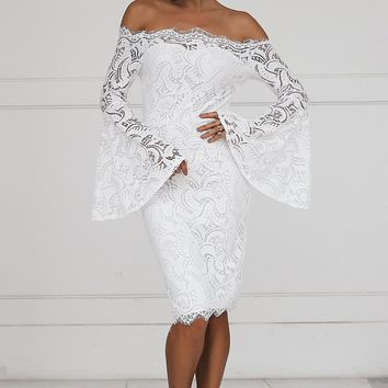 Lacey Off Shoulder Lace Flare Sleeve Bodycon Dress