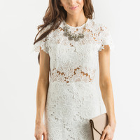 Serena White Lace Midi Dress