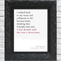 literary art print / book quote // looking for alaska; john green