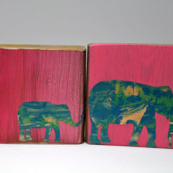 Pink and Turquoise Mommy and Me Elephant Stencil Blocks: Home Décor, Nursery Decoration, Gift, 2 block set, Children, Kids Room, Custom