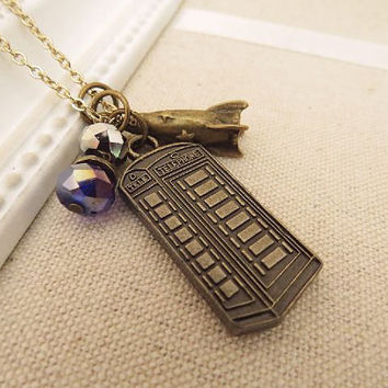 Tardis. a charm necklace by trinketsforkeeps on Etsy