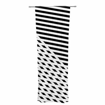 "Fimbis ""Ovrlap Black And White"" Black White Stripes Geometric Vector Digital Decorative Sheer Curtain"
