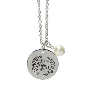 Best Mom Ever Inspiration Message Pendant Necklace