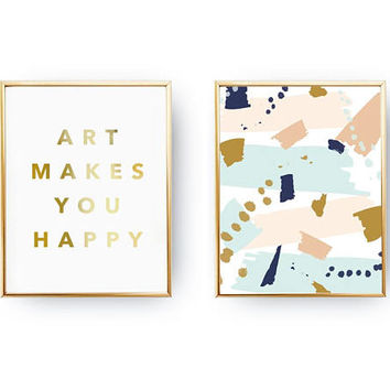 Set Of 2 Prints, Pastel Paint Art, Typography Print, Inspirational Poster, Art Makes You Happy, Gold Foil Print, Abstract Decor, Home Decor