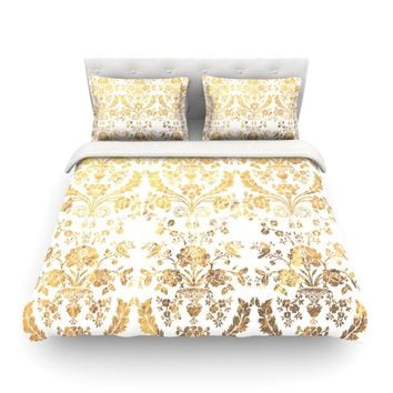 "Kess Original ""Baroque Gold"" Abstract Floral Gold Pattern Featherweight Duvet Cover - Outlet Item"