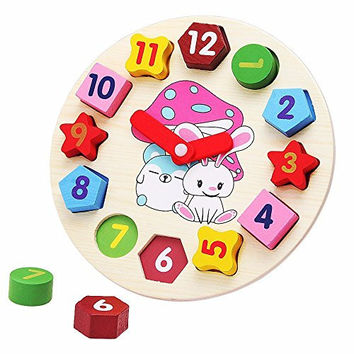 Little star Wooden blocks toys Digital Geometry Clock Children's Educational toy