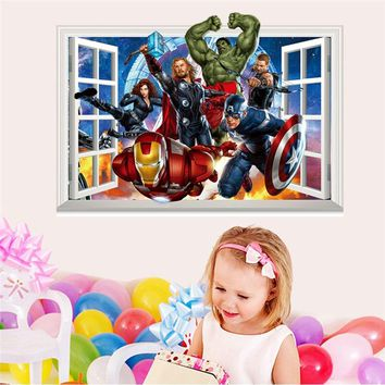 3d Fake Window Wall Stickers Cartoon Avengers For Kids Baby Nursery Room Mural Art Decals PVC Home Decor For Children's Bedroom