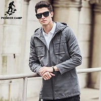 Pioneer Camp Trench Coat Men clothing top quality Trench Coat male Clothing Long windbreaker Jackets & Coats