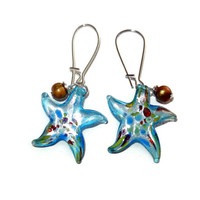Light Blue Glass Starfish Earrings