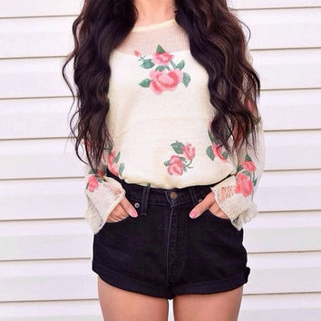 Just Like a Flower Sweater- back in stock