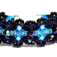 Beaded Macrame Bracelet, Knotted Bracelet with CZ Crystal Beads & Seed Beads - Black/Light Blue
