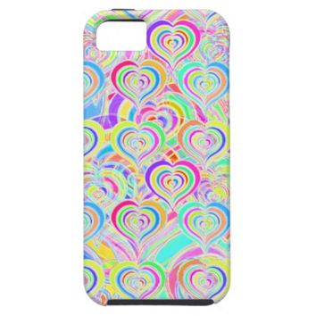 Bright rainbow hearts psychedelic iphone case
