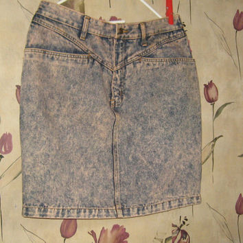 "Vtg 80's STUDEBAKER  hipster   JEAN SKIRT ""pink  Acid Wash Pencil\Straight  brass back full zipper sz 17-18"