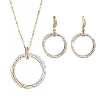 14K Italian Gold Two Tone Set Of Earrings & Necklace Circle Design