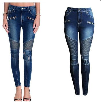 2077 Women`s Fashion Punk Motorcyle Patchwork Stretch Slim Fit Ripped Denim Pants Skinny Jeans Woman High Waist Jeans Femme