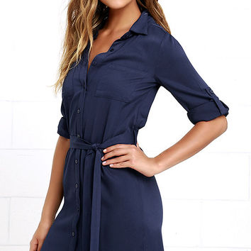 Acts of Love Navy Blue Shirt Dress