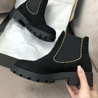 So Surreal Black Studded Suede Platform Booties