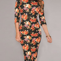 Black Floral Print 3/4 Sleeve Bodycon Dress